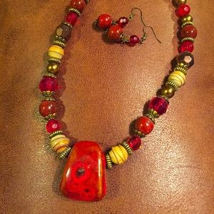 Stone necklace and matching earrings